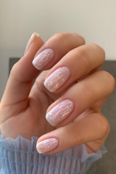 Autumn 2021 Nail Art Trends: White Quartz Nails by Isabel May