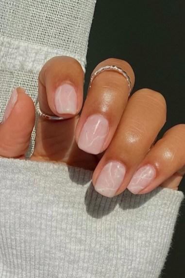 Autumn 2021 Nail Art Trends: White Quartz Nails by Lavish Lacquer
