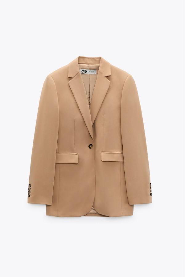 ZARA Tailored Blazer With Pockets - Camel