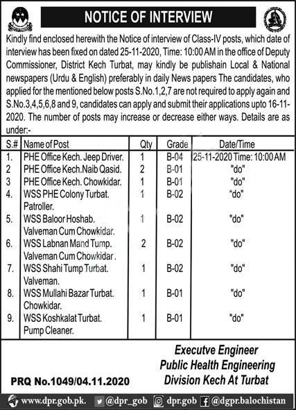 Public Health Engineering Division PHED Kech Jobs 2020