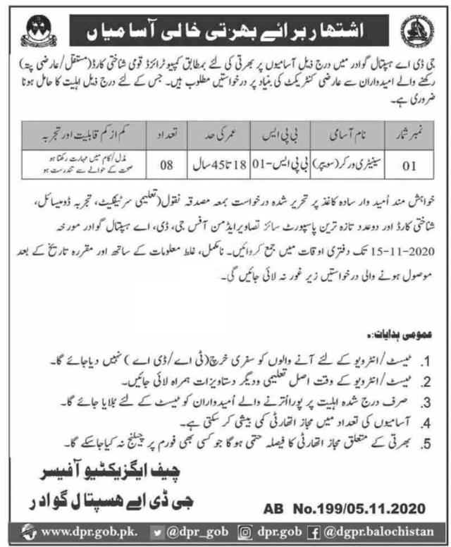 GDA Hospital Gwadar Jobs 2020 for Sanitary Worker