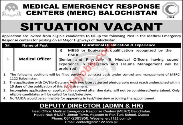 Medical Emergency Response Centers MERC Balochistan Jobs