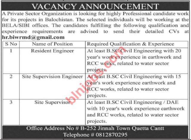 Privat Sector Organization Jobs in Balochistan 2021