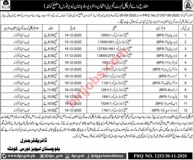 Balochistan Levies Force QUETTA Jobs Test Schedule