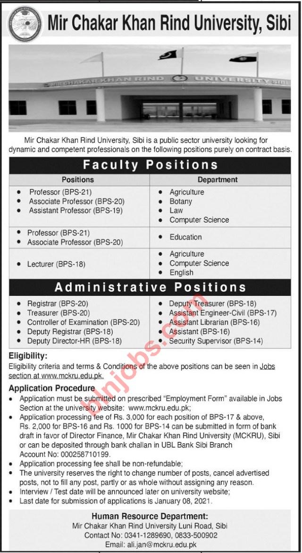 Mir Chakar Khan Rind University Sibi Jobs