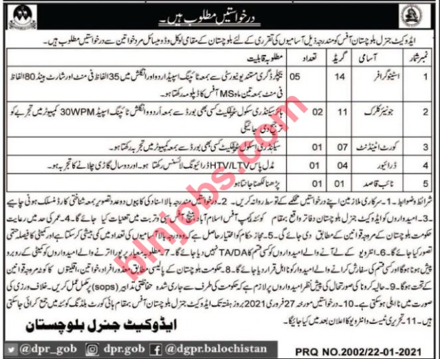Advocate General Balochistan Jobs in Quetta 2021