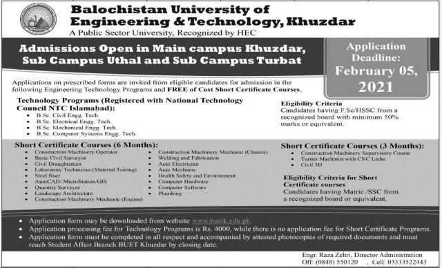 BUET Khuzdar Admission 2021