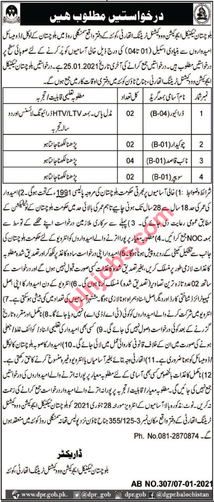 Balochistan Technical Education and Vocational Training Authority Quetta Jobs 2021