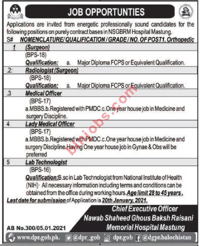 Nawab Shaheed Ghous Baksh Raisani Memorial Hospital Mastung Jobs 2021
