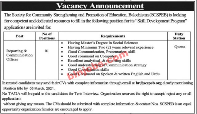 Society for Community Strengthening and Promotion Education SCSPEB Balochistan Jobs 2021