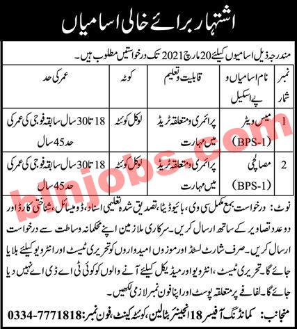 18 Engineer Battalion Quetta Cantt Jobs