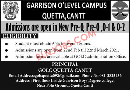 Garrison O Level Campus Quetta Cantt Admissions