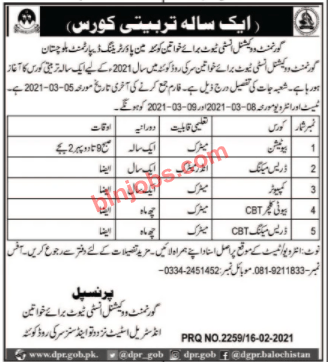 Government Vocational Institute for Women Admissions 2021