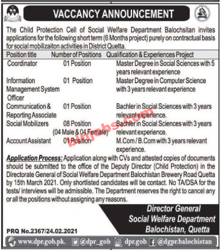 Child Protection Cell of Social Welfare Balochistan Jobs 2021