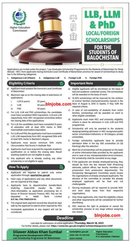 HEC Scholarship For balochistan Students 2021