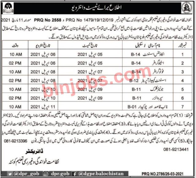 Literacy and Non Formal Education Balochistan Jobs Test Schedule
