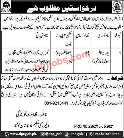 Literacy and Non Formal Education Balochistan Jobs 2021