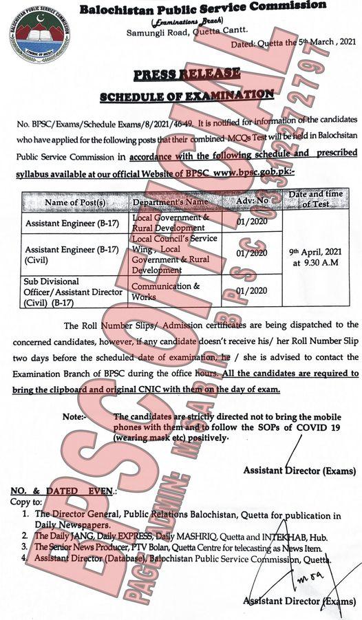 BPSC Assistant Engineer Examination Schedule