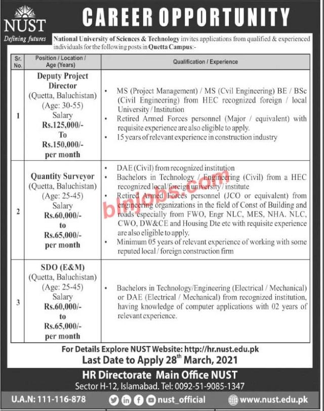 NUST Quetta Campus Jobs 2021
