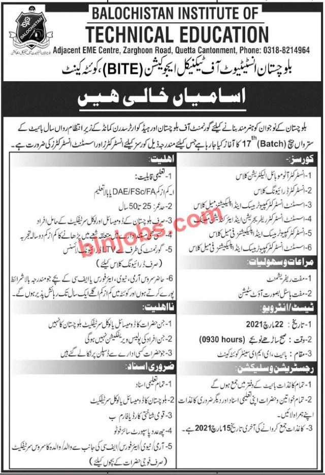 Balochistan Institute of Technical Education BITE Quetta Jobs 2021