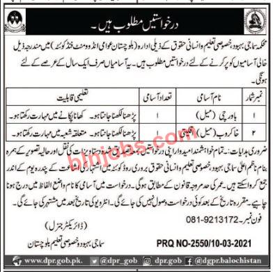Social Welfare Department Special Education Balochistan Jobs 2021