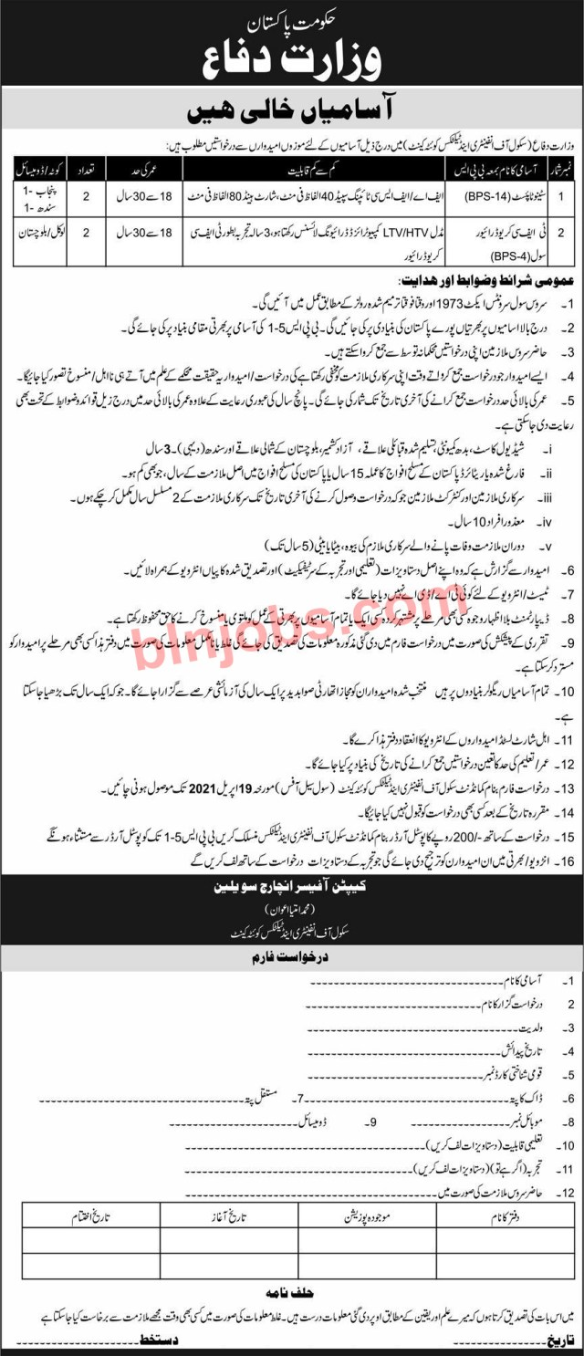Ministry of Defence School of Infantry and Tactics Quetta Jobs 2021
