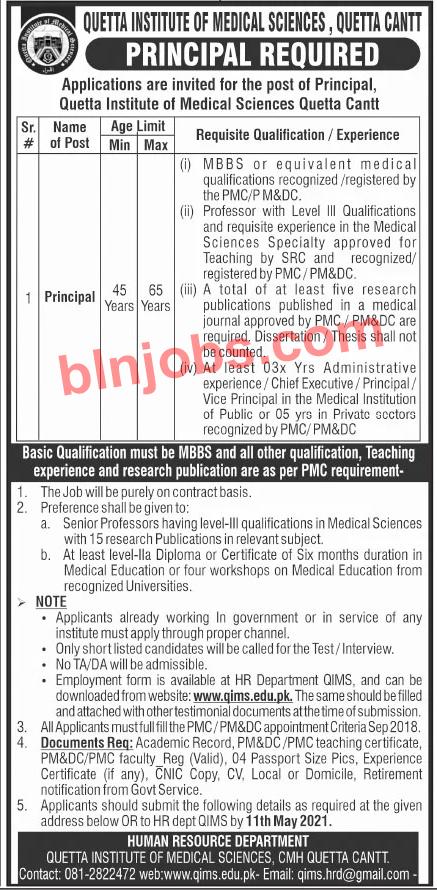 Quetta Institute of Medical Sciences Jobs 2021