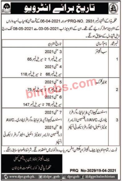 Irrigation Department Balochistan Jobs interview Schedule