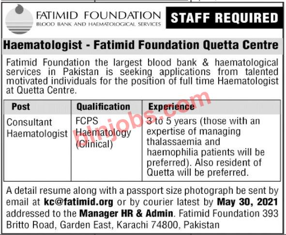 Fatimid Foundation Jobs in Quetta 2021