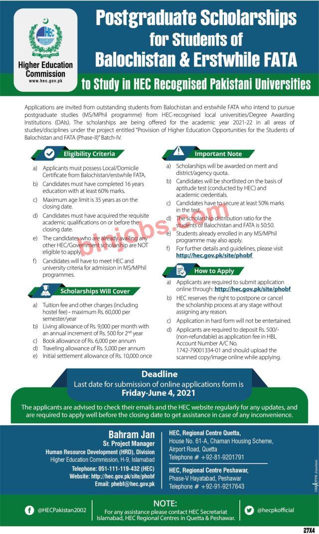 HEC Postgraduate Scholarship MS/M.Phil Program For Balochistan Students