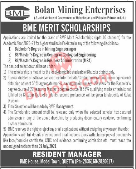 Bolan Mining Enterprises BME Merit Scholarship 2021