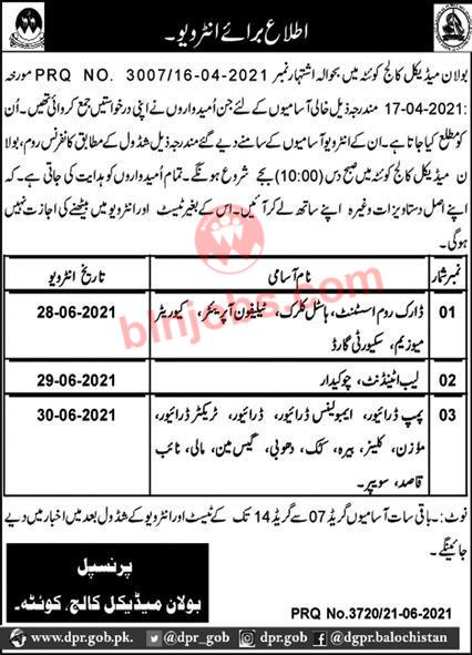 Bolan Medical College Quetta Jobs Interview Schedule 2021
