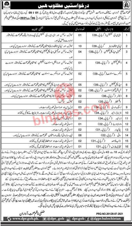 Balochistan Health Department Awaran Jobs 2021