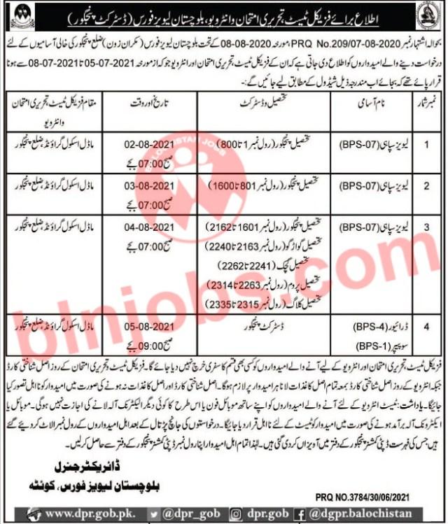 Balochistan Levies Force Panjgur Physical, Test/Interview Schedule