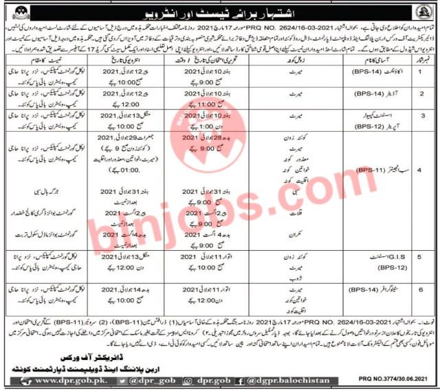 Urban Planning and Development Department Balochistan Interview Schedule 2021