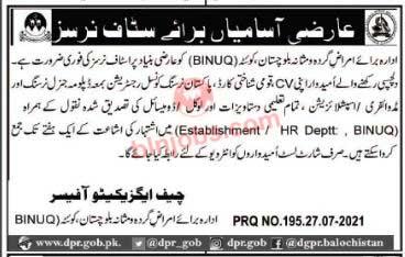 Balochistan Institute of Nephro Urology BINUQ Jobs 2021