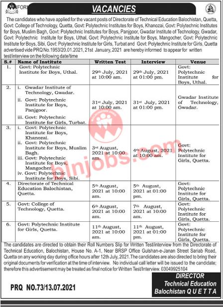 Balochistan Technical Education Jobs Interview Schedule 2021