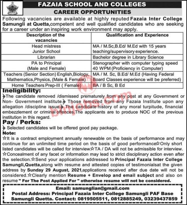 Fazaia School and Colleges Quetta Jobs 2021