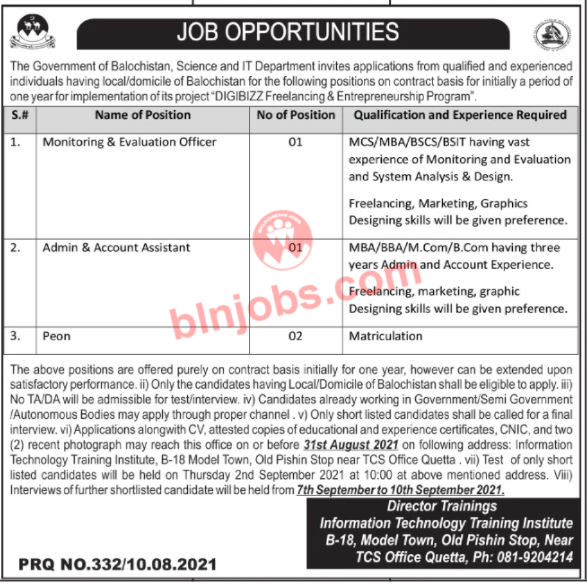 Science and IT Department Balochistan Jobs 2021