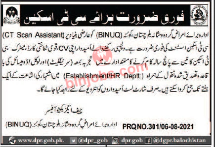 CT Scan Assistant Jobs in BINUQ 2021