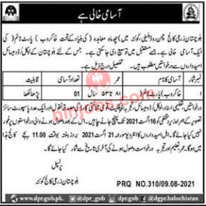 Khakrob Jobs in Balochistan Agriculture College BAC Quetta 2021