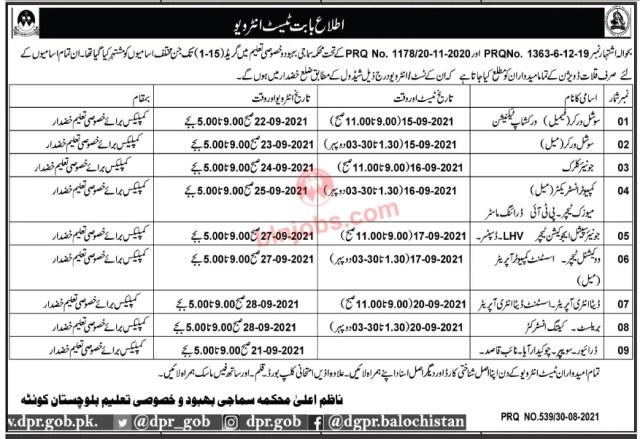 Social Welfare & Special Education Department Balochistan Interview Schedule 2021