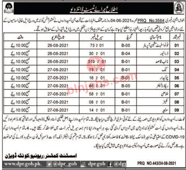 Revenue Department Quetta Division Test/ Interview Schedule 2021