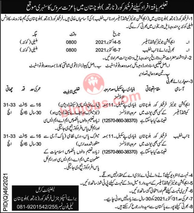 FC Balochistan New Jobs 2021