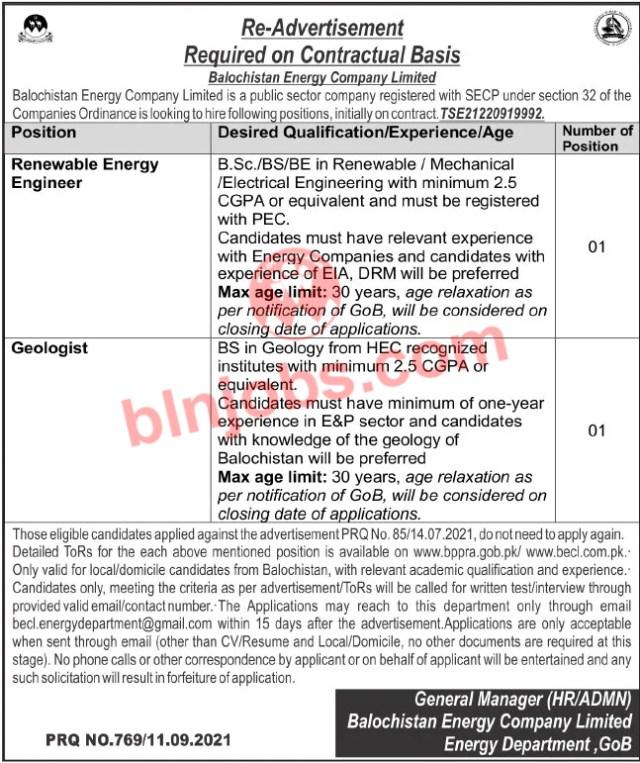 Balochistan Energy Company Ltd BECL Jobs 2021