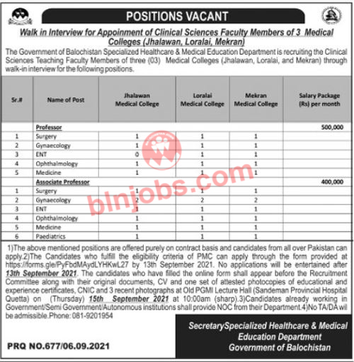 Specialized Healthcare and Medical Education Balochistan Jobs 2021
