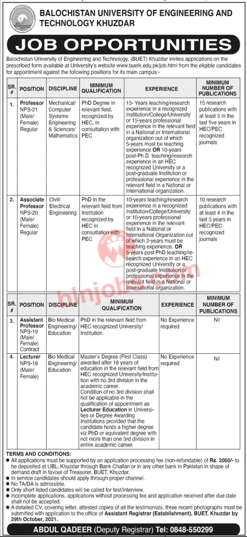 BUET Khuzdar Jobs 2021