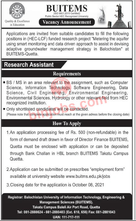 Balochistan University of Information Technology Engineering and Management Sciences BUITEMS Jobs 2021