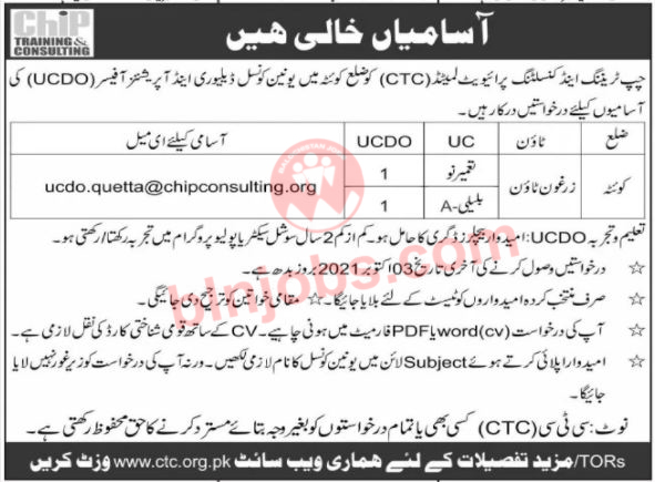 CHIP Training and Consulting CTC Jobs in Quetta 2021
