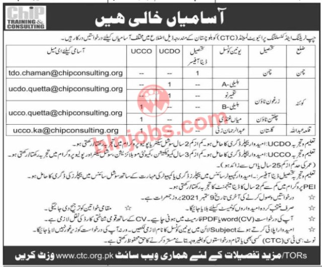 Chip Training and Consulting CTC Jobs in Balochistan 2021